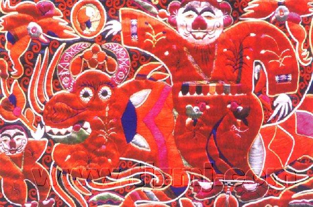手绘彩色刺绣图案